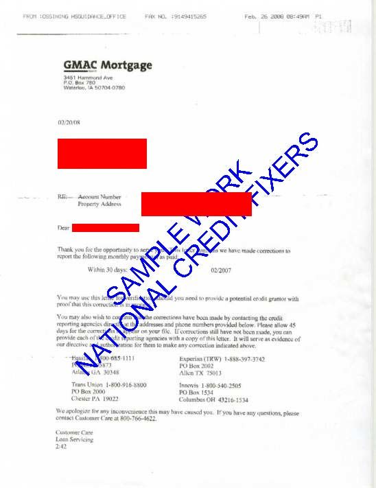 GMAC Mortgage Late Payment Deletion