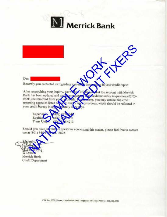 Merrick Bank Late Payment Deletion