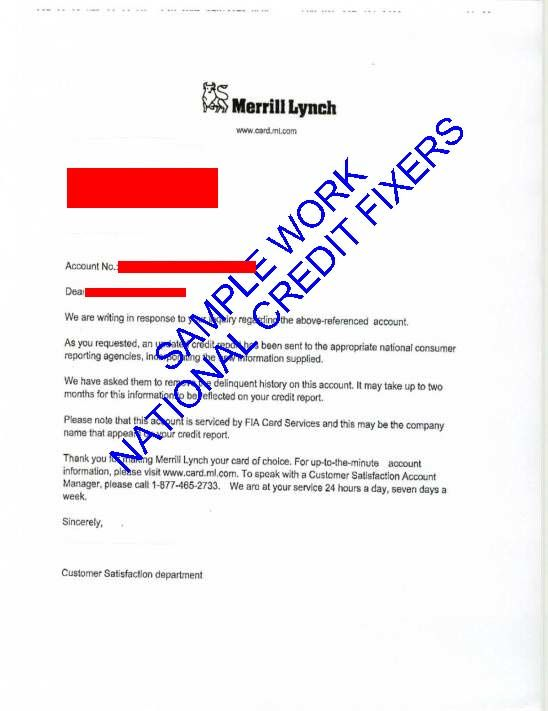 Merril Lunch Credit Card Late Payment Deletion