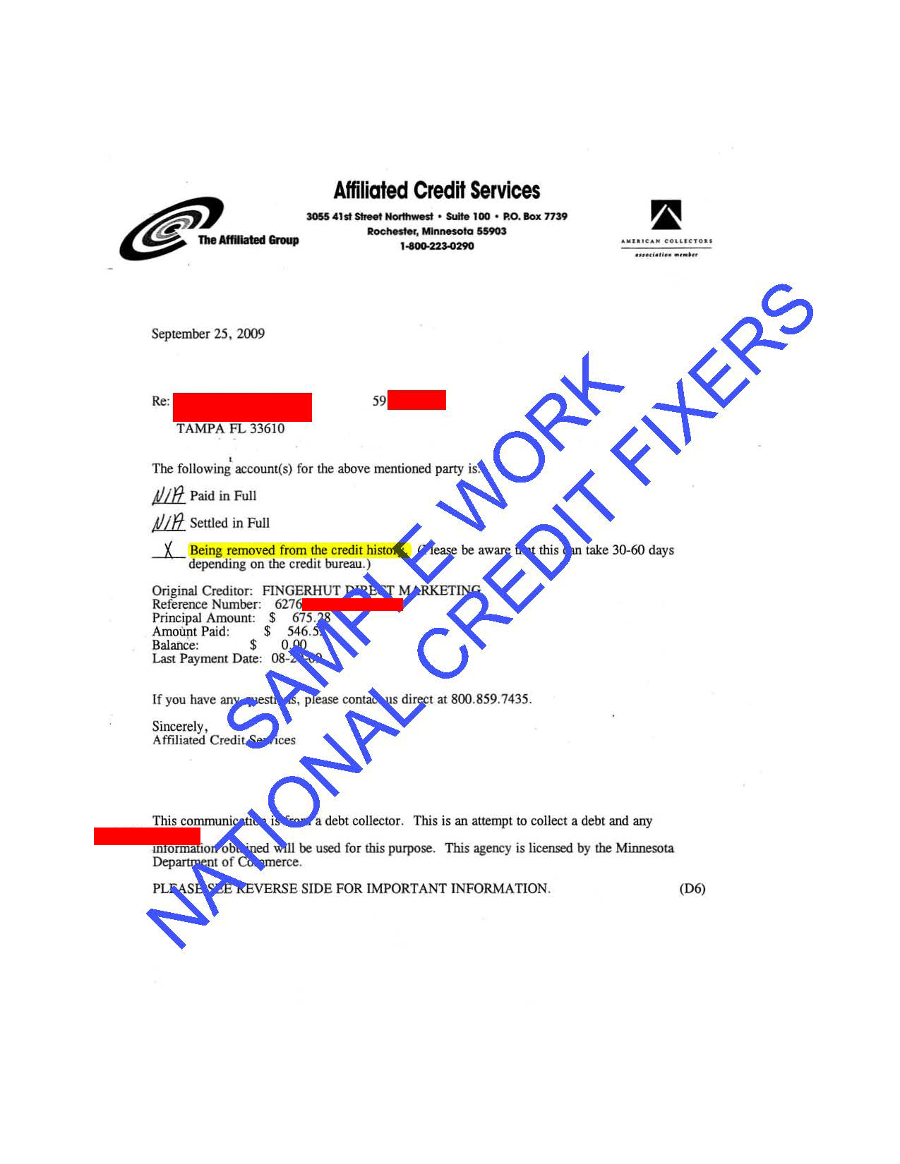 Affiliated Credit Services Deletion