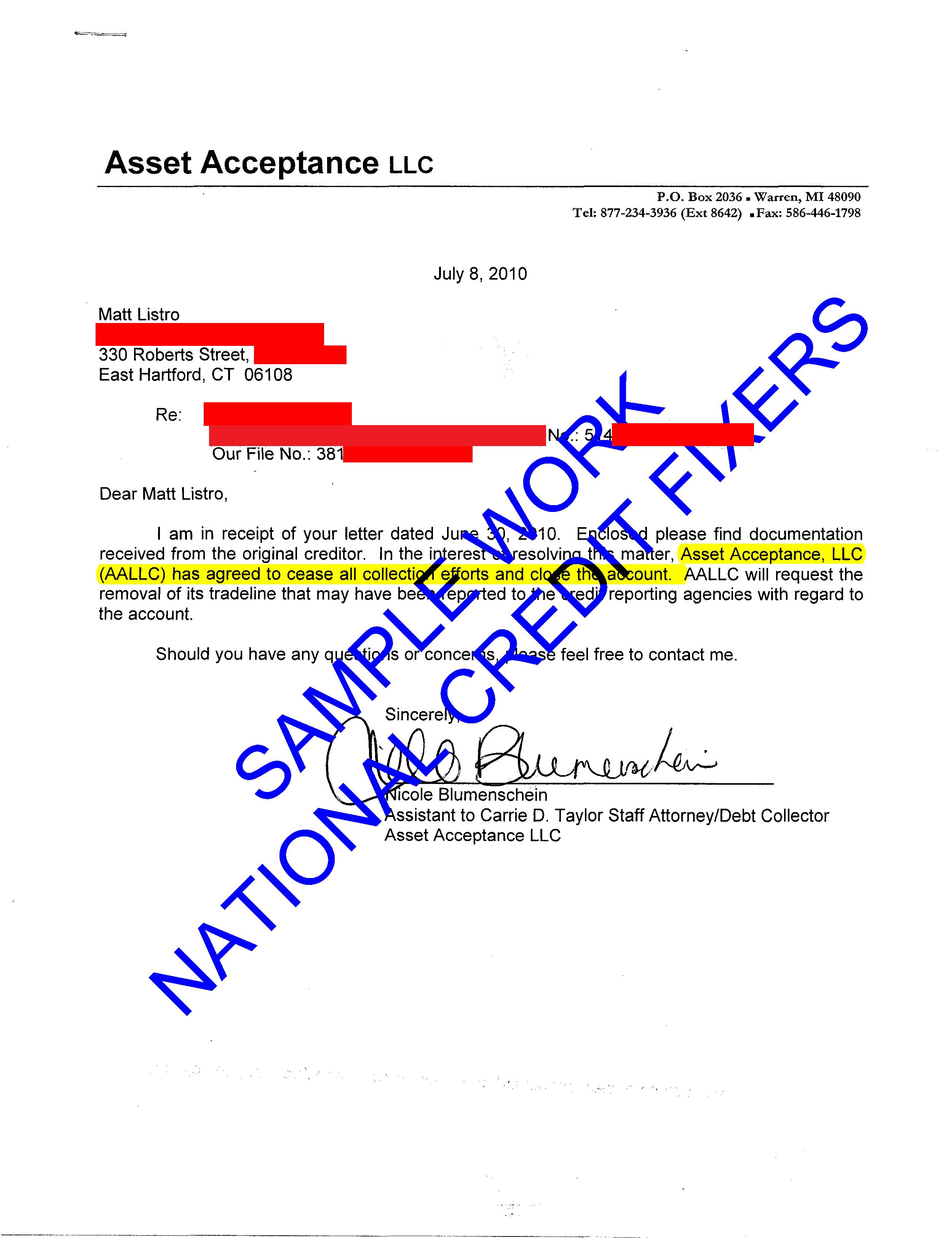 Asset Acceptance Deletion 7