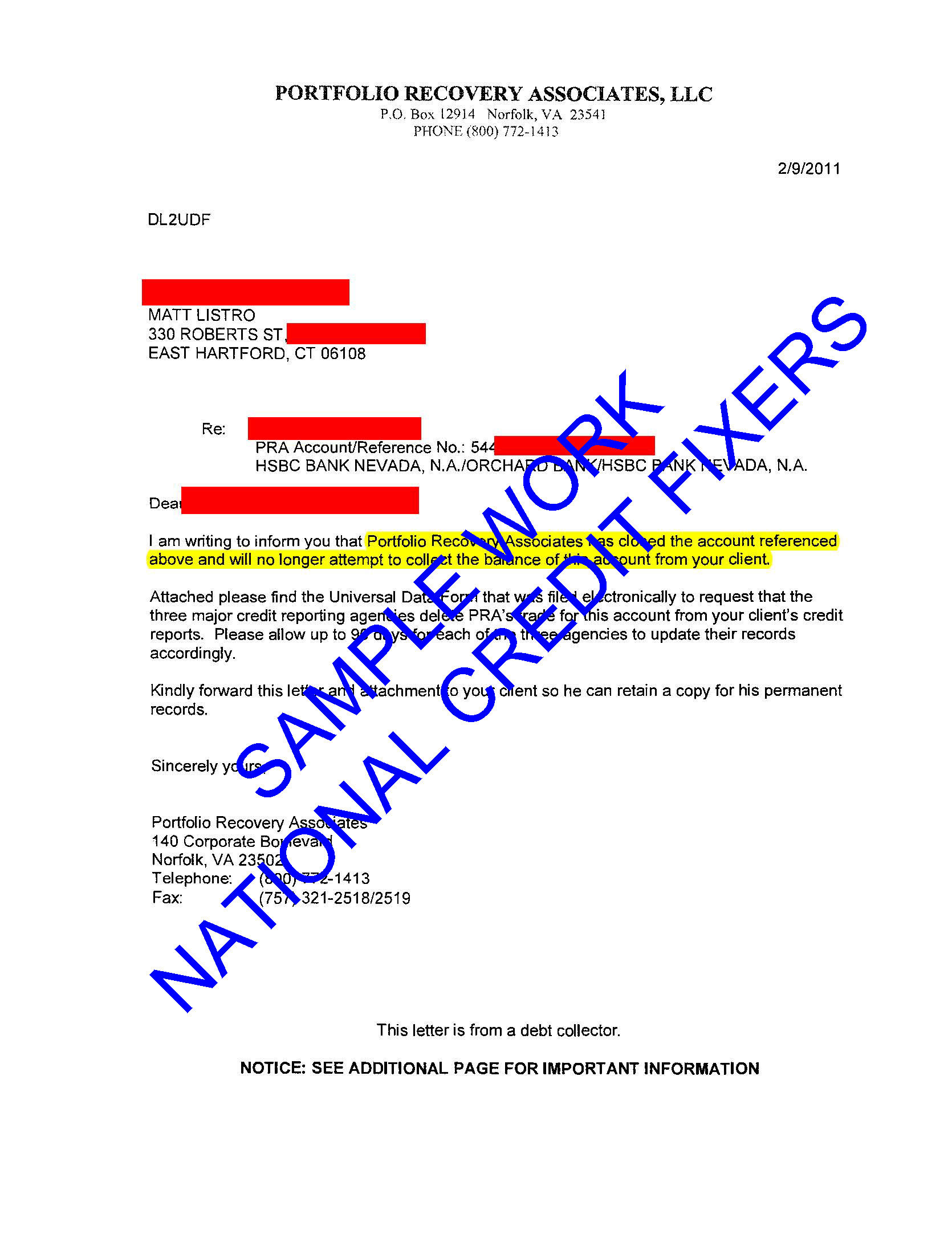 Portfolio Recovery Associates Deletion 2