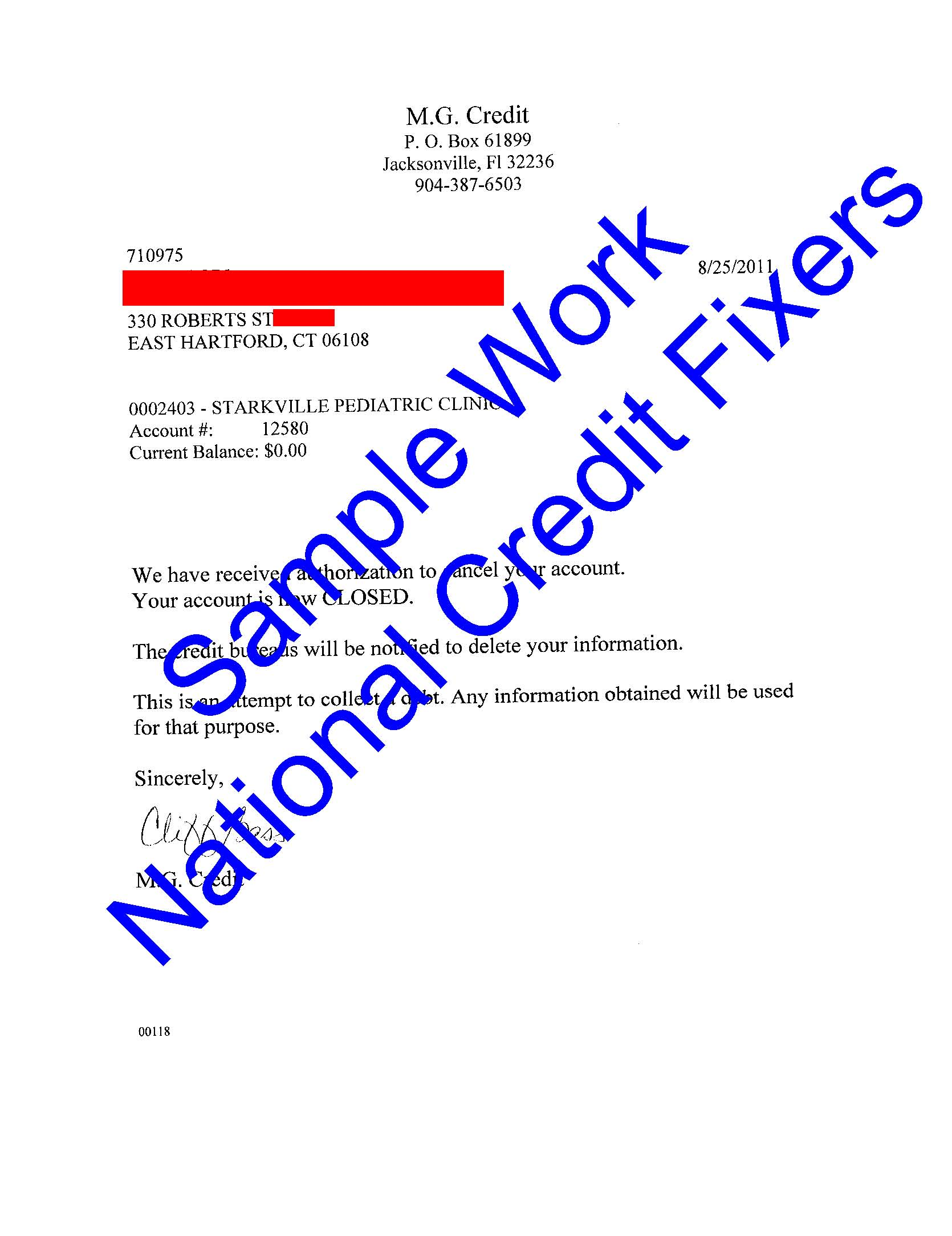 MG Credit Deletion