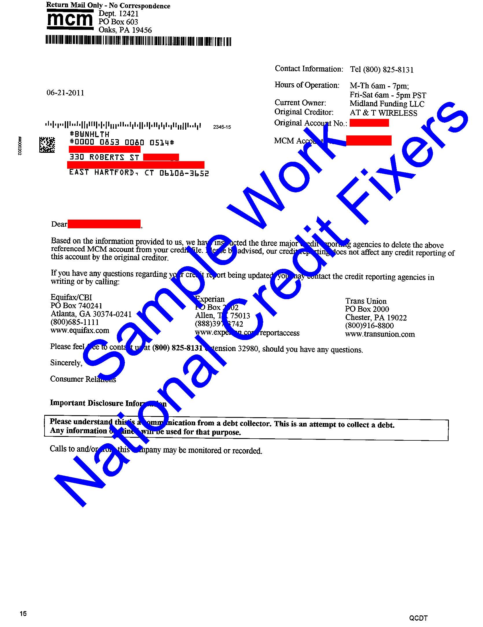 Midland Credit Management Deletion 1