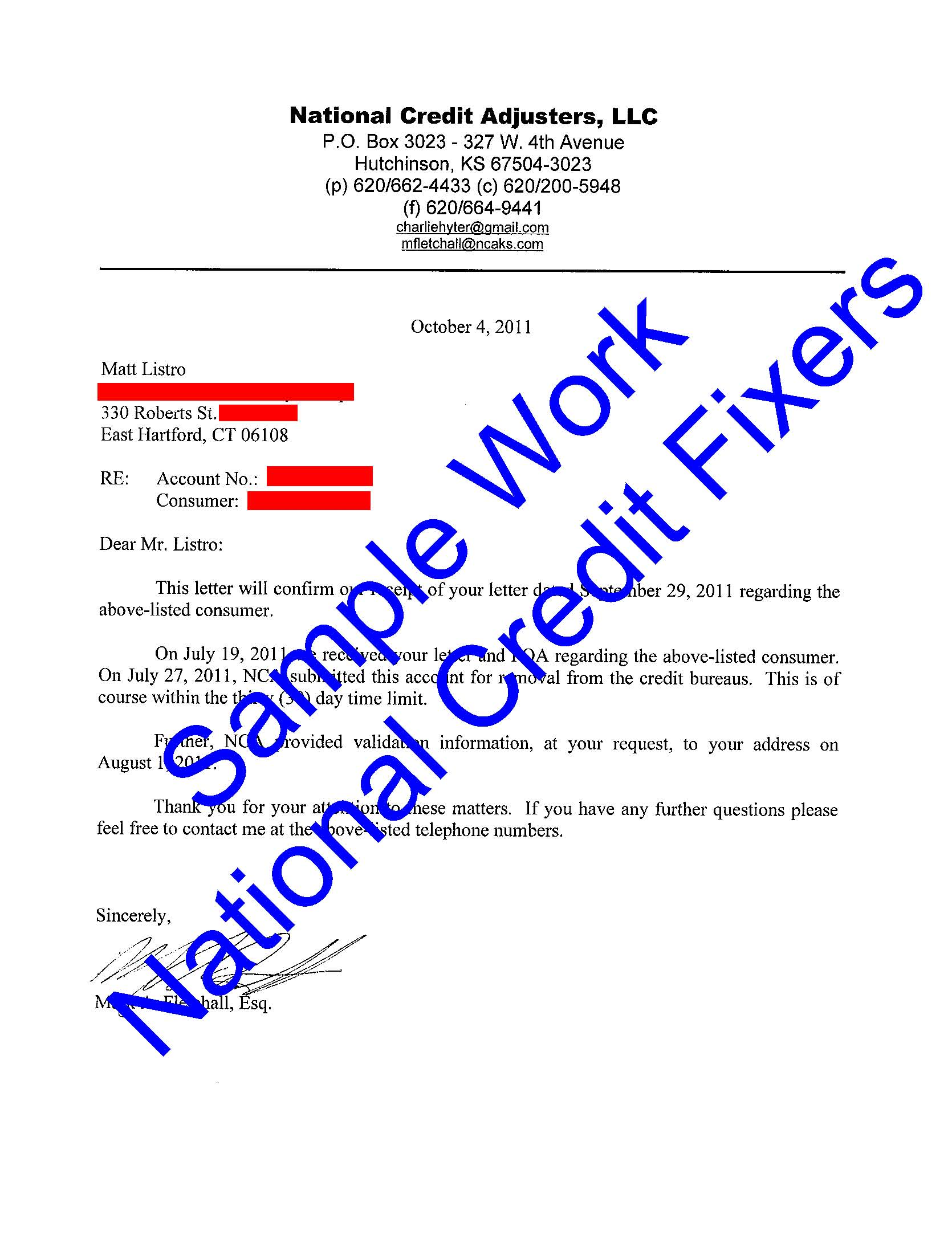 National Credit Adjusters Deletion