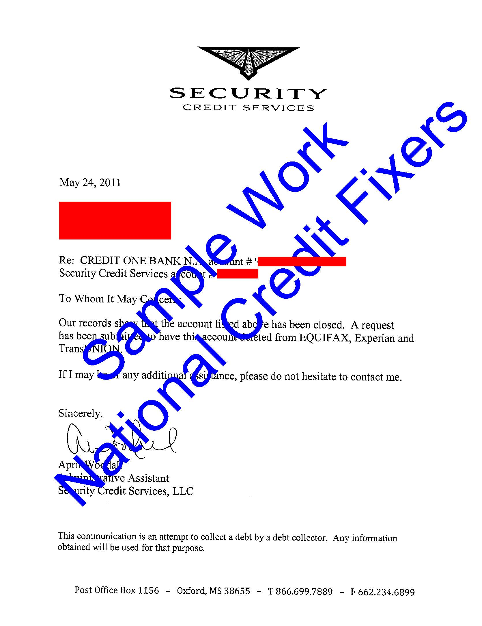 Security Credit Services Deletion 1