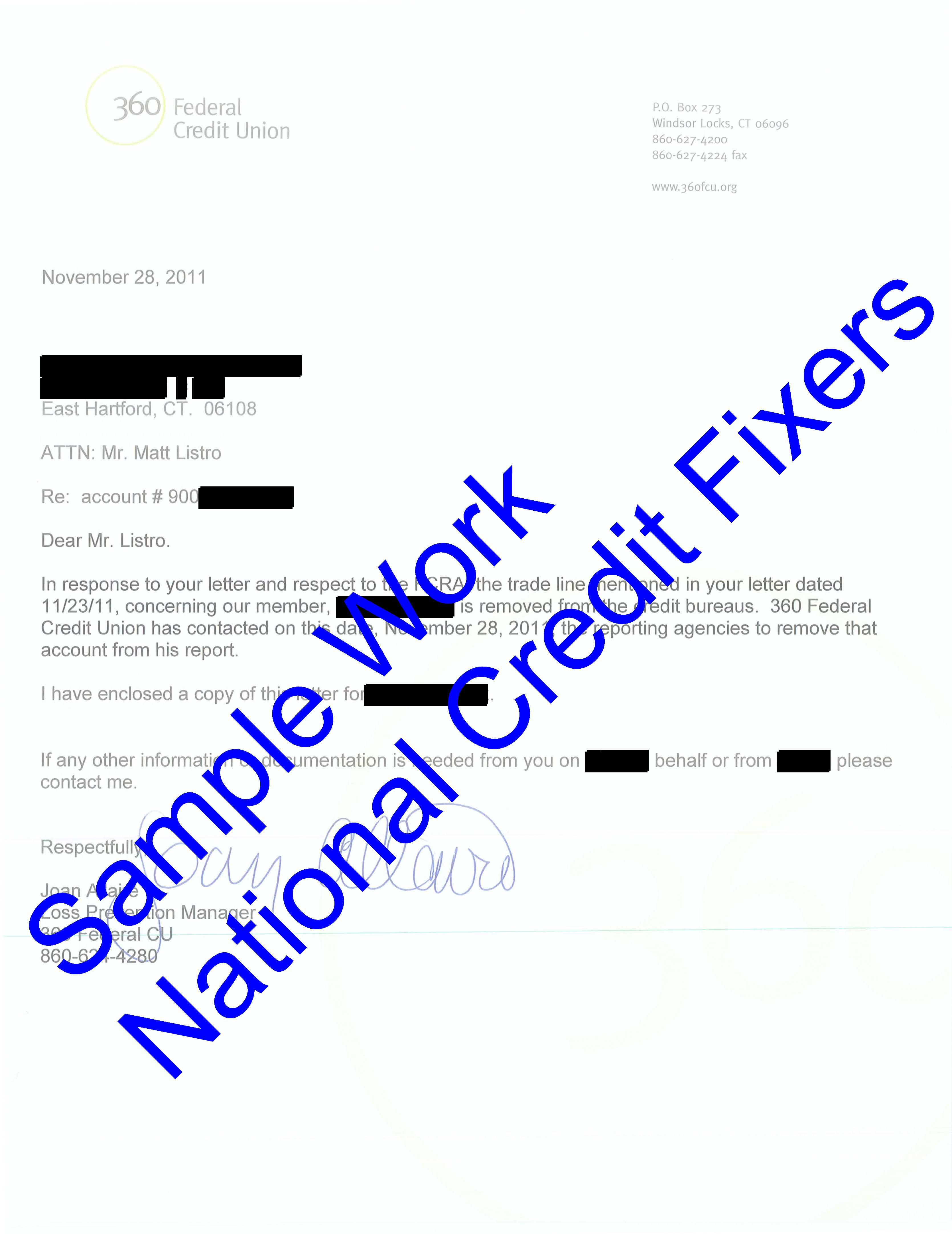 360 Federal Credit Union Deletion